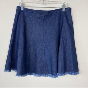 Altar'd State Denim Circle Skirt, Raw Hem, size L
